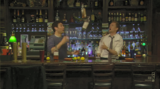 Ted and Barney bartending