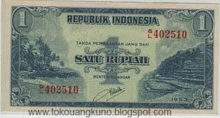 uang kuno, Indonesia,uang, koleksi,Rp, Uang Kuno,koin, mata uang, Seri,kertas, seri, Koleksi, Museum, harga,1 Rupiah Pemandangan Sold