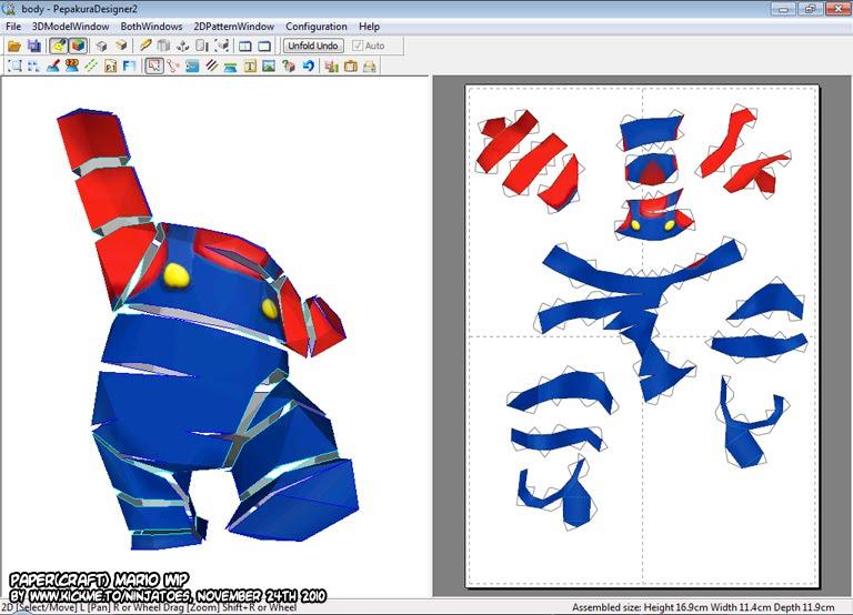 Ninjatoes' papercraft weblog: Paper(craft) Mario's body unfold