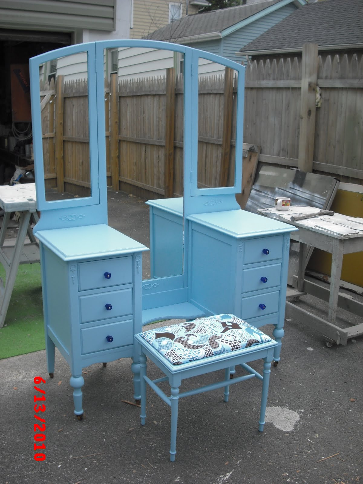 I did this vanity for a teenage girl. The Mom had stopped by and said she  had pottery barn blue furniture. she gave me a knob to match the color. - Handpainted Furniture Blog, Shabby Chic Vintage Painted Furniture