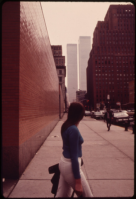 The U.S. National Archives - Looking South on West Broadway Toward the Towers of the World Trade Center 05-1973