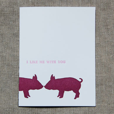 pig love note card from linda and harriett
