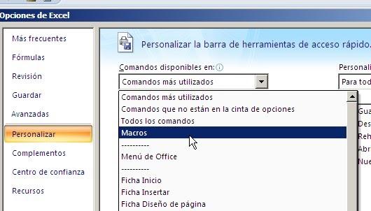 Activar una macro desde la barra de acceso rápido en Excel
