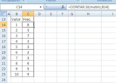 valores frecuentes en matriz Excel