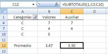 Excel promedios sin ceros