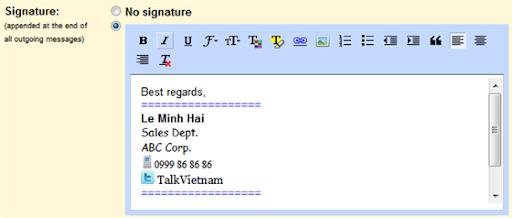 Gmail HTML signature