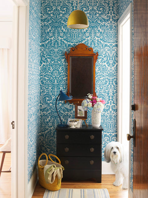 Foyer Wallpaper : Wallpaper nature mural accent wall damask bold entryway