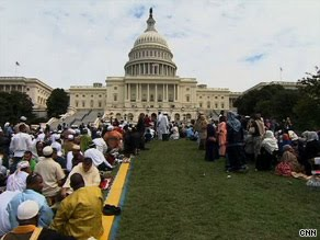 Praying to Allah at the foot of the Washington Mosque aka The usa Capital Dome