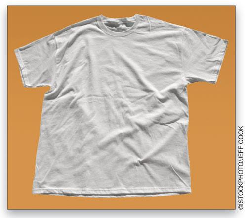 Kami memilih gambar T-shirt kosong dari iStockphoto.com, sengaja memilih