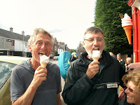 Roger Boston and Alan Sloman enjoy an ice cream in Edzell