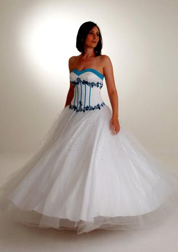 Vestido de 15 años - Color Blanco/Turquesa : Vestidos para tu Fiesta