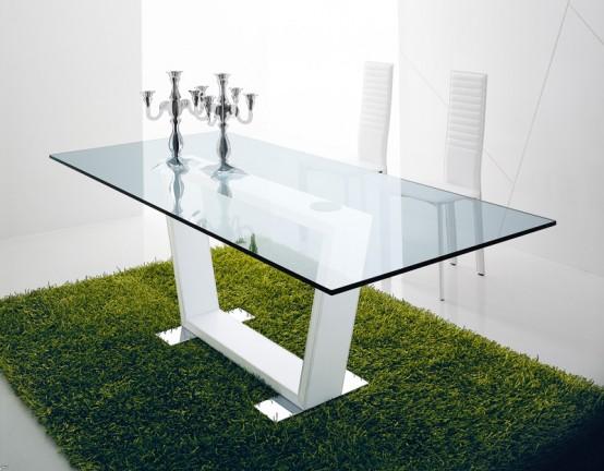 mesas de comedor de vidrio con bases muy originales