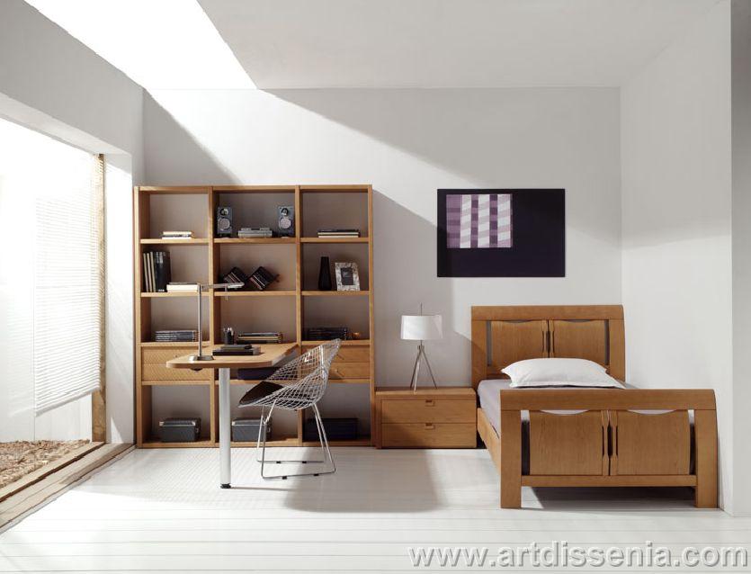 Interior home design dormitorio juvenil personal en for Dormitorio blanco y madera