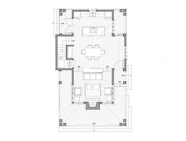 Plano de casa de dos pisos dos dormitorios y 85 metros for Plano cocina con isla