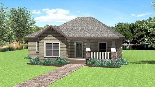 Plano de hermosa casa de un piso y tres habitaciones for Casas pequenas y bonitas de un piso