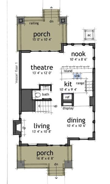 Interior design plano de casa de 2 pisos 3 habitaciones for Medios banos debajo de escaleras