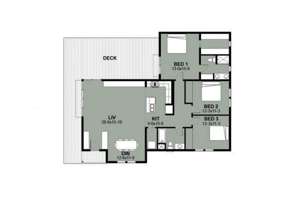 Plano de casa de 3 dormitorios y 151 metros cuadrados for Dormitorio 6 metros cuadrados