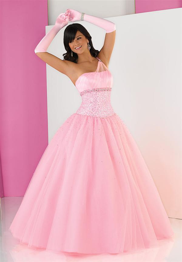Vestido para fiesta de 15 años de color rosado con guantes : Vestidos ...