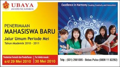 Jadwal Pendaftaran Mahasiswa Baru Ubaya