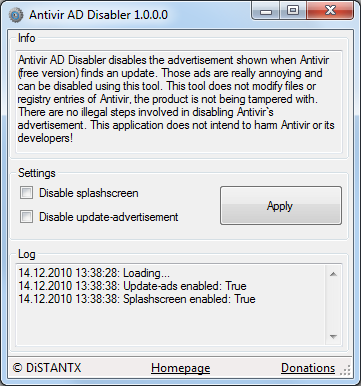 Click to view Antivir AD Disabler 1.0.0.1 screenshot