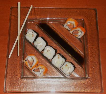 Plato cuadrado para sushi