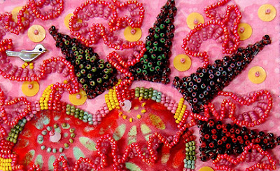 bead embroidery by Robin Atkins, bead journal project, January 2008, thorn detail