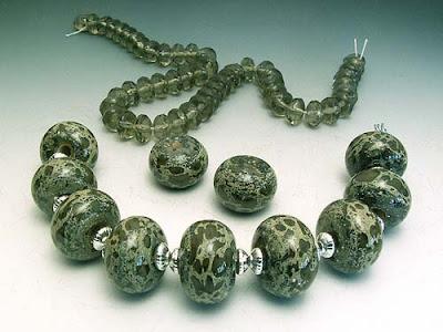 Lichen beads by lampwork artist Terri Budrow-Nelson