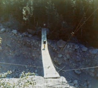Crossing the suspension bridge on the Wonderland Trail, Mt. Rainier, 1973
