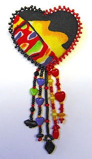beaded heart pin by Robin Atkins, Heart On Fire