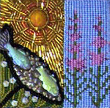 beaded block by Jeanette Shanigan, for Spirit Mask bead quilt