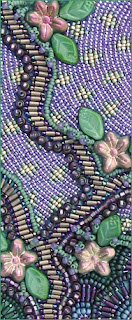 improvisational bead embroidery by Robin Atkins, detail from cover of hand made book