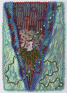 bead embroidery by Robin Atkins, July bead journal project