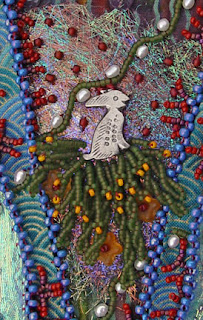 bead embroidery by Robin Atkins, July bead journal project, detail showing angelina and rabbit charm