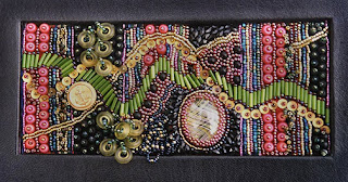 improvisational bead embroidery by Robin Atkins, hand-made book, Money Madness, cover detail