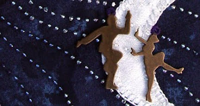 bead embroidery and copper charms by Robin Atkins, bead journal project, detail