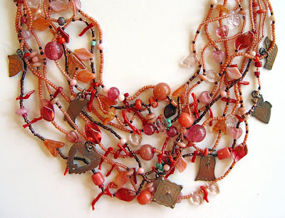 bead necklace with copper charms by Robin Atkins