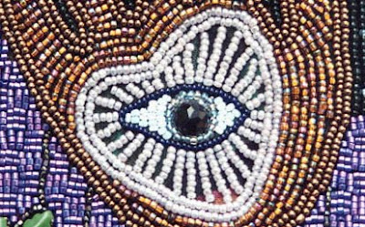 improvisational bead embroidery, robin atkins, beaded bag, detail