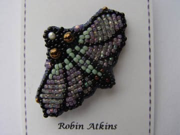 bead embroidery, moth pin, by Robin Atkins, original photo