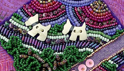 detail, bead embroidery on felt by Robin Atkins, bead journal project
