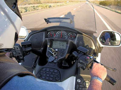 fancy controls on the new Goldwings, Robert is driving it