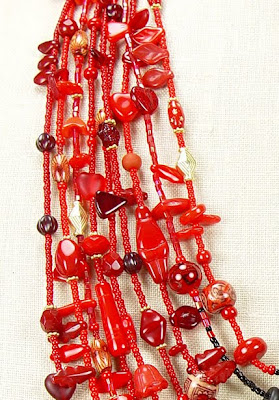 kimono necklace by Robin Atkins, detail, top of red side
