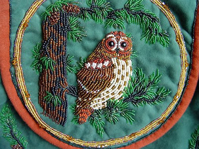 bead embroidery, owl design, Janet Dann