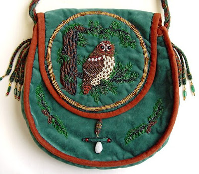 bead embroidery, owl purse, Janet Dann