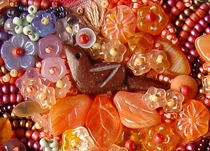 bead journal project, Robin Atkins, bird detail