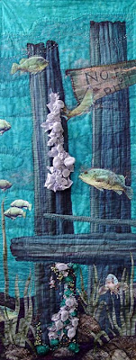 Global Warming, bead embellished quilt by Thom Atkins, in process 2