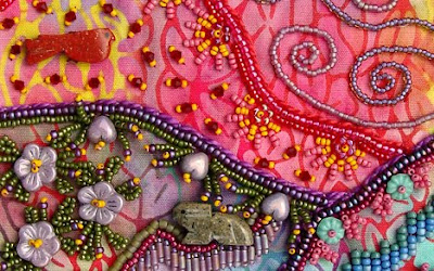 bead journal project, bead embroidery by robin atkins, detail