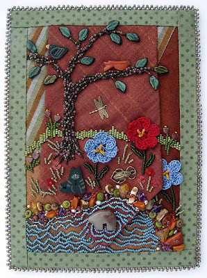 bead embroidery, dad's tie, with fabric border, by robin atkins