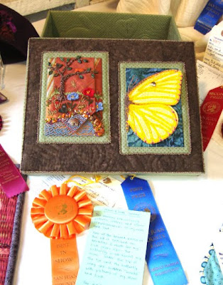 bead embroidery, quilting, memory box by robin atkins wins ribbons at fair
