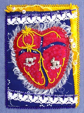 bead journal project, robin atkins, bead embroidery, heat gone haywire