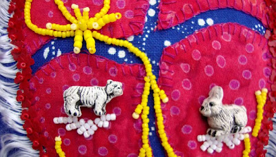bead journal project, robin atkins, bead embroidery, heat gone haywire, totem animals detail